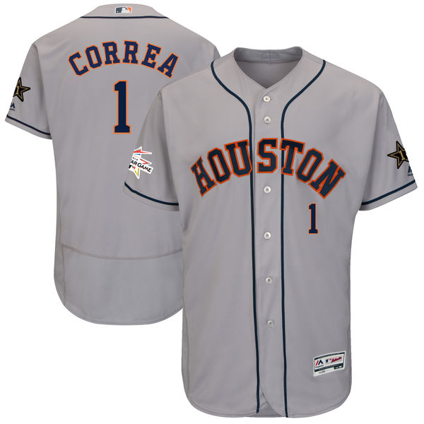 Men's Houston Astros #1 Carlos Correa Majestic Gray 2017 MLB All-Star Game Worn Stitched MLB Flex Base Jersey