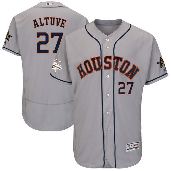 Men's Houston Astros #27 Jose Altuve Majestic Gray 2017 MLB All-Star Game Worn Stitched MLB Flex Base Jersey