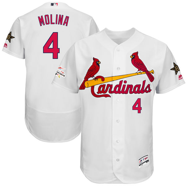 Men's St. Louis Cardinals #4 Yadier Molina Majestic White 2017 MLB All-Star Game Worn Stitched MLB Flex Base Jersey