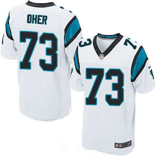 Men's Carolina Panthers #73 Michael Oher White Road Stitched NFL Nike Elite Jersey