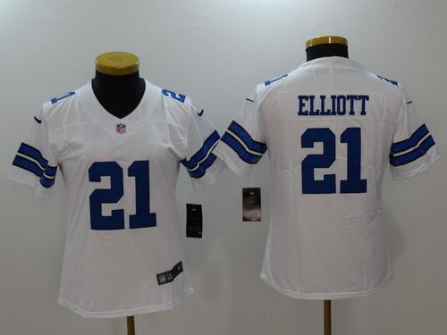 Women's Dallas Cowboys #21 Ezekiel Elliott White 2017 Vapor Untouchable Stitched NFL Nike Limited Jersey