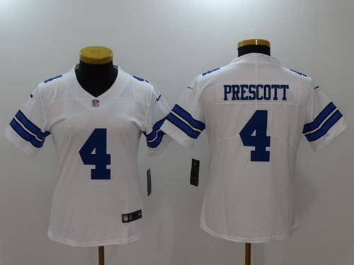 Women's Dallas Cowboys #4 Dak Prescott White 2017 Vapor Untouchable Stitched NFL Nike Limited Jersey