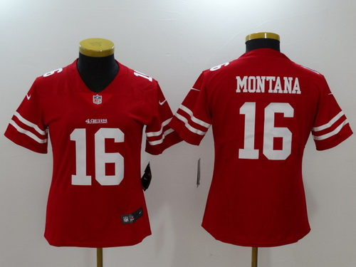 Women's San Francisco 49ers #16 Joe Montana Red 2017 Vapor Untouchable Stitched NFL Nike Limited Jersey