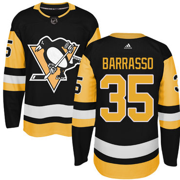 Adidas Pittsburgh Penguins #35 Tom Barrasso Black Alternate Authentic Stitched NHL Jersey