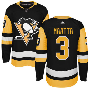 Adidas Pittsburgh Penguins #3 Olli Maatta Black Alternate Authentic Stitched NHL Jersey