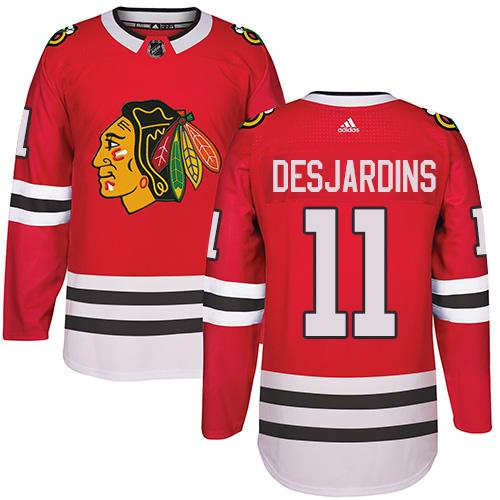 Adidas Chicago Blackhawks #11 Andrew Desjardins Red Home Authentic Stitched NHL Jersey