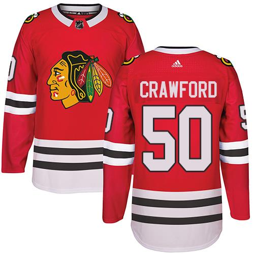 Adidas Chicago Blackhawks #50 Corey Crawford Red Home Authentic Stitched NHL Jersey