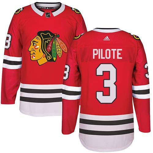 Adidas Chicago Blackhawks #3 Pierre Pilote Red Home Authentic Stitched NHL Jersey