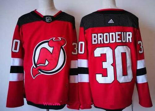 Men's New Jersey Devils #30 Martin Brodeur Red with Black 2017-2018 adidas Hockey Stitched NHL Jersey