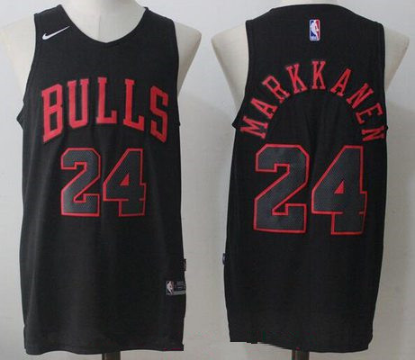 Men's Chicago Bulls #24 Lauri Markkanen All Black 2017-2018 Nike Swingman Stitched NBA Jersey
