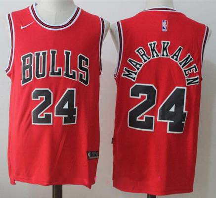 Men's Chicago Bulls #24 Lauri Markkanen Red 2017-2018 Nike Swingman Stitched NBA Jersey