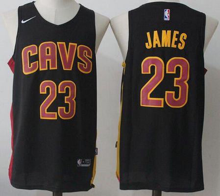 Men's Cleveland Cavaliers #23 LeBron James Black 2017-2018 Nike Swingman Stitched NBA Jersey