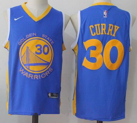 Men's Golden State Warriors #30 Stephen Curry Royal Blue 2017-2018 Nike Swingman Stitched NBA Jersey