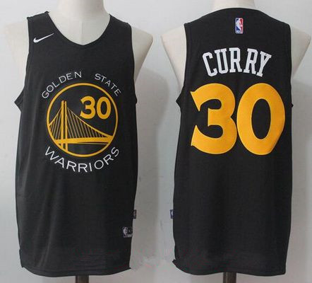 Men's Golden State Warriors #30 Stephen Curry Black with Yellow 2017-2018 Nike Swingman Stitched NBA Jersey