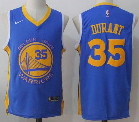 Men's Golden State Warriors #35 Kevin Durant Royal Blue 2017-2018 Nike Swingman Stitched NBA Jersey