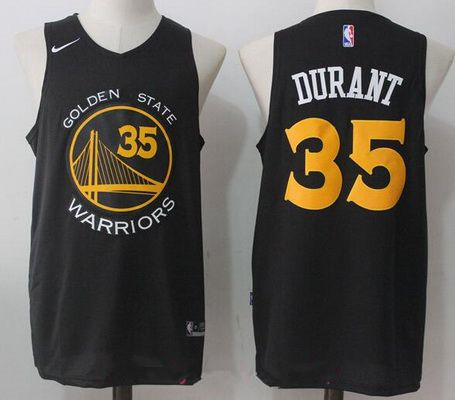 Men's Golden State Warriors #35 Kevin Durant Black with Yellow 2017-2018 Nike Swingman Stitched NBA Jersey