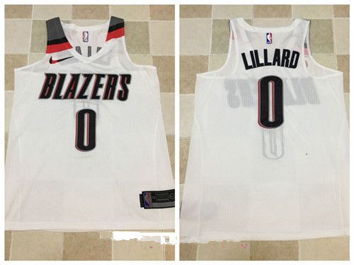 Men's Portland Trail Blazers #0 Damian Lillard White 2017-2018 Nike Swingman Stitched NBA Jersey