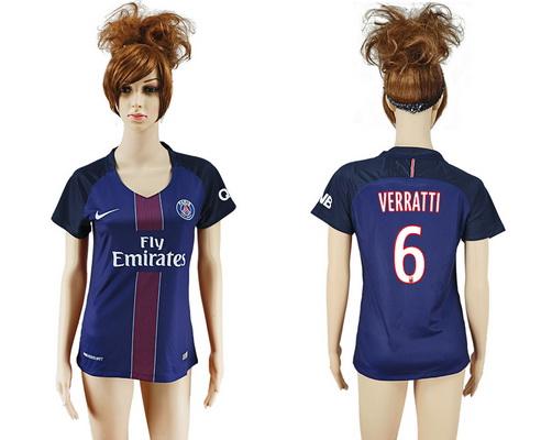 2016-17 Paris Saint-Germain #6 VERRATTI Home Soccer Women's Navy Blue AAA+ Shirt