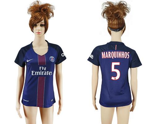2016-17 Paris Saint-Germain #5 MARQUINHOS Home Soccer Women's Navy Blue AAA+ Shirt