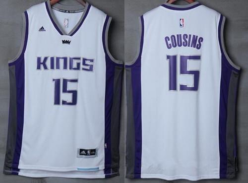 Men's Sacramento Kings #15 DeMarcus Cousins NEW White Stitched NBA 2016-17 adidas Revolution 30 Swingman Jersey