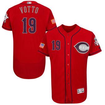 Men's Cincinnati Cincinnati Reds Joey Votto Majestic Fashion Stars & Stripes FlexBase Player Jersey - Scarlet