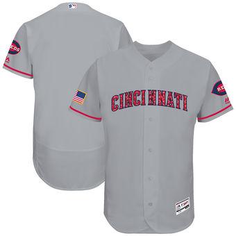 Men's Cincinnati Cincinnati Reds Majestic 2017 Stars & Stripes Authentic Collection FlexBase Team Jersey - Gray