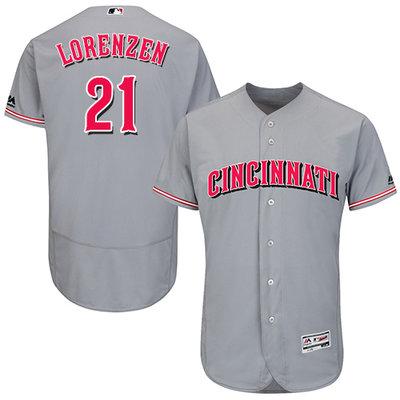 Men's Cincinnati Reds #21 Michael Lorenzen Grey Flexbase Authentic Collection Stitched MLB Jersey