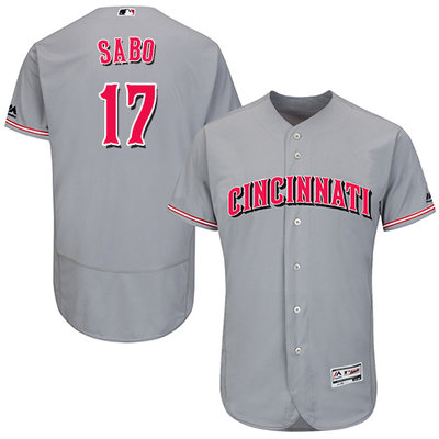 Men's Cincinnati Reds #17 Chris Sabo Grey Flexbase Authentic Collection Stitched MLB Jersey