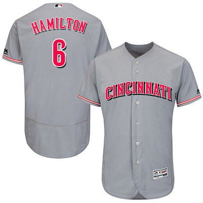 Men's Cincinnati Reds #6 Billy Hamilton Grey Flexbase Authentic Collection Stitched MLB Jersey