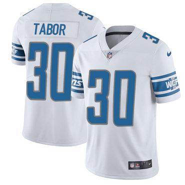 Nike Detroit  Lions #30 Teez Tabor White Men's Stitched NFL Elite Jersey