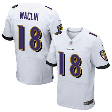 Nike Baltimore Ravens #18 Jeremy Maclin White Men's Stitched NFL New Elite Jersey