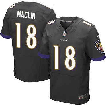 Nike Baltimore Ravens #18 Jeremy Maclin Black Alternate Men's Stitched NFL New Elite Jersey