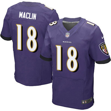 Nike Baltimore Ravens #18 Jeremy Maclin Purple Team Color Men's Stitched NFL New Elite Jersey