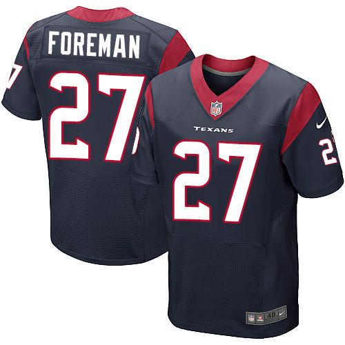 Nike Houston Texans #27 D'Onta Foreman Navy Blue Team Color Men's Stitched NFL Elite Jersey