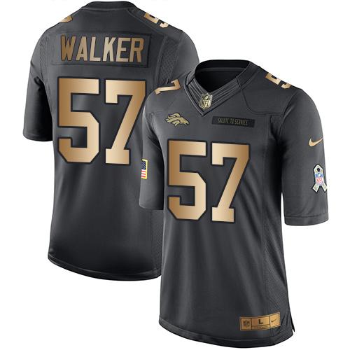 Nike Denver Broncos #57 Demarcus Walker Black Men's Stitched NFL Limited Gold Salute To Service Jersey