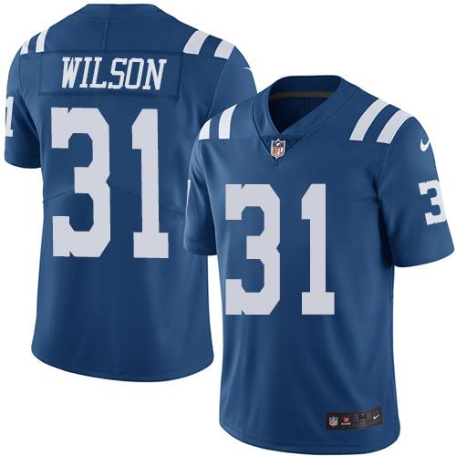 Nike Indianapolis Colts #31 Quincy Wilson Royal Blue Men's Stitched NFL Limited Rush Jersey