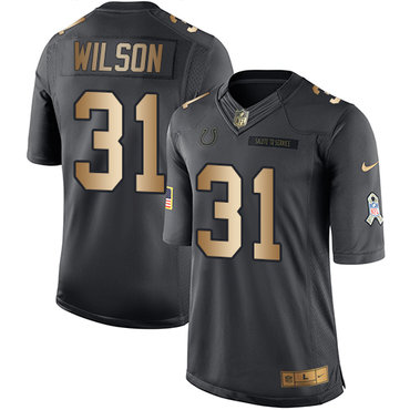 Nike Indianapolis Colts #31 Quincy Wilson Black Men's Stitched NFL Limited Gold Salute To Service Jersey