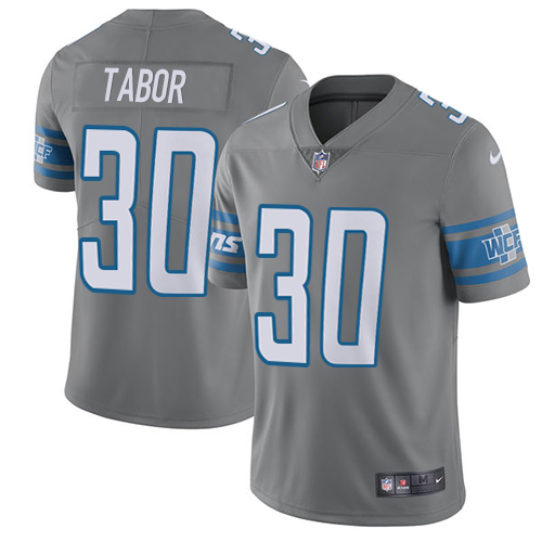 Nike Detroit Lions #30 Teez Tabor Gray Men's Stitched NFL Limited Rush Jersey