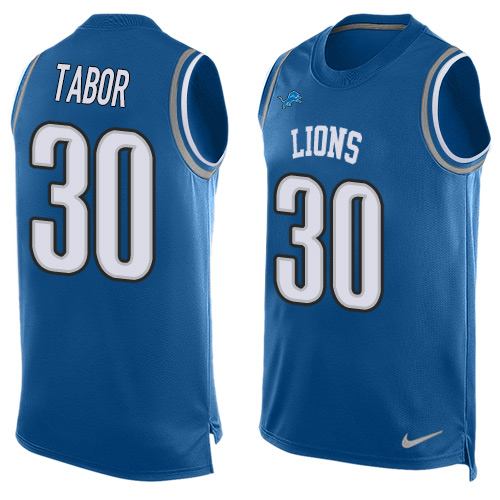 Nike Detroit Lions #30 Teez Tabor Blue Team Color Men's Stitched NFL Limited Tank Top Jersey
