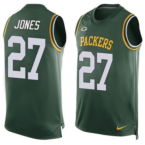 Nike Green Bay Packers #27 Josh Jones Green Team Color Men's Stitched NFL Limited Tank Top Jersey