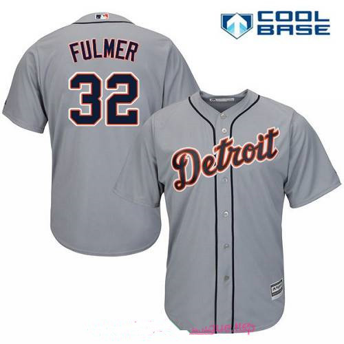 Men's Detroit Tigers #32 Michael Fulmer Gray Road Stitched MLB Majestic Cool Base Jersey