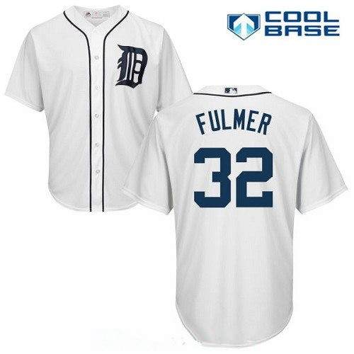 Men's Detroit Tigers #32 Michael Fulmer White Home Stitched MLB Majestic Cool Base Jersey