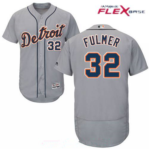Men's Detroit Tigers #32 Michael Fulmer Gray Road Stitched MLB Majestic Flex Base Jersey