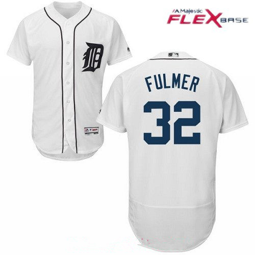 Men's Detroit Tigers #32 Michael Fulmer White Home Stitched MLB Majestic Flex Base Jersey