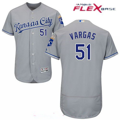 Men's Kansas City Royals #51 Jason Vargas Gray Road Stitched MLB Majestic Flex Base Jersey