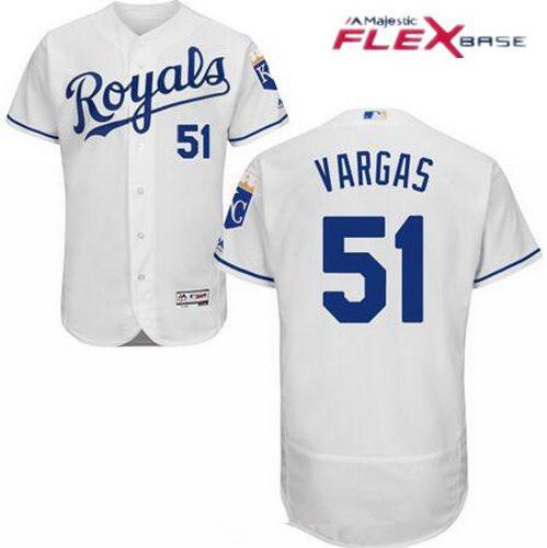 Men's Kansas City Royals #51 Jason Vargas White Home Stitched MLB Majestic Flex Base Jersey