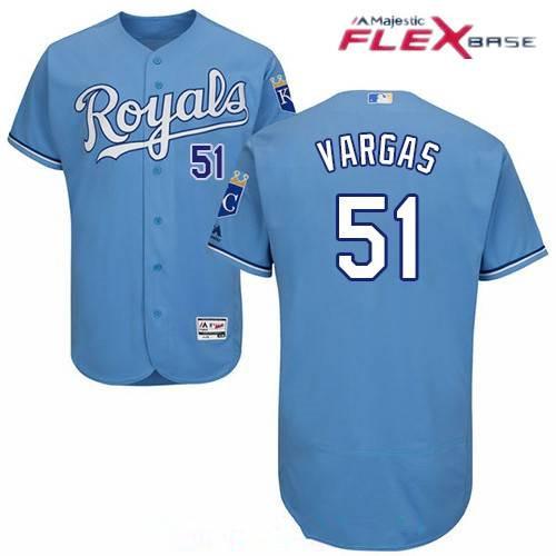 Men's Kansas City Royals #51 Jason Vargas Light Blue Alternate Stitched MLB Majestic Flex Base Jersey