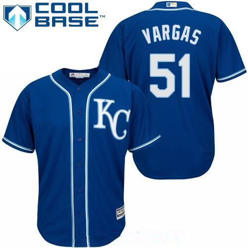 Men's Kansas City Royals #51 Jason Vargas Navy Blue Alternate Stitched MLB Majestic Cool Base Jersey