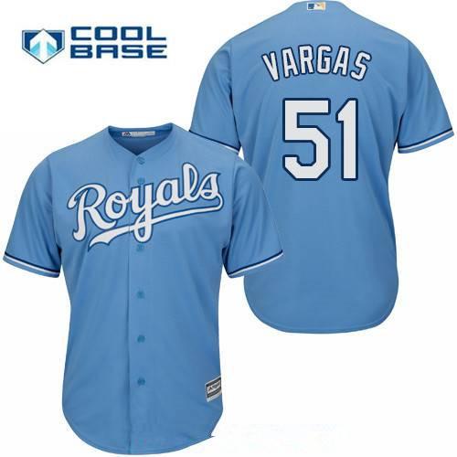 Men's Kansas City Royals #51 Jason Vargas Light Blue Alternate Stitched MLB Majestic Cool Base Jersey