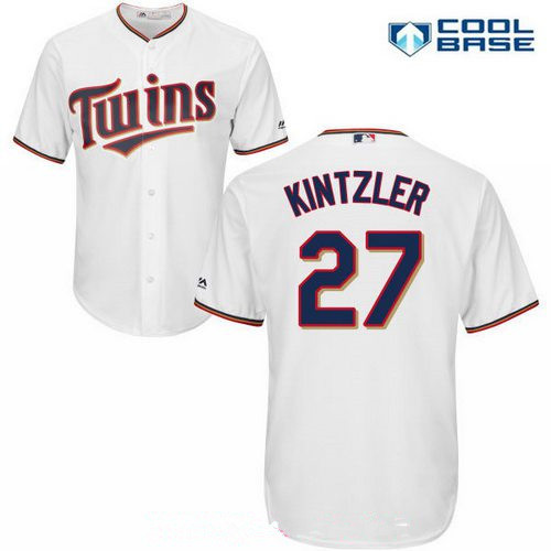 Men's Minnesota Twins #27 Brandon Kintzler White Stitched MLB Majestic Cool Base Jersey